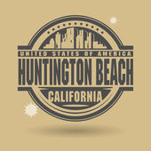Stamp or label with text Huntington Beach, California inside — Stock Vector