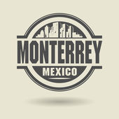 Stamp or label with text Monterrey, Mexico inside — Stock Vector