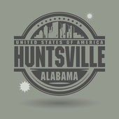 Stamp or label with text Huntsville, Alabama inside — Stock Vector