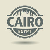 Stamp or label with text Cairo, Egypt inside — Vector de stock