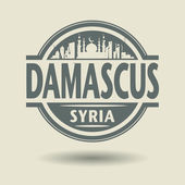 Stamp or label with text Damascus, Syria inside — Vector de stock
