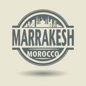 Stamp or label with text Marrakesh, Morocco inside — Stock Vector