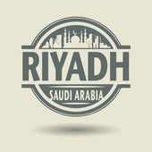 Stamp or label with text Riyadh, Saudi Arabia inside — Vector de stock