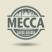 Stamp or label with text Mecca, Saudi Arabia inside — Vector de stock