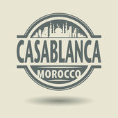 Stamp or label with text Casablanca, Morocco inside — Stock Vector