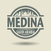 Stamp or label with text Medina, Saudi Arabia inside — Stock Vector