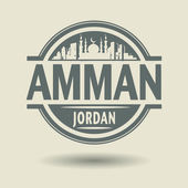 Stamp or label with text Amman, Jordan inside — ストックベクタ
