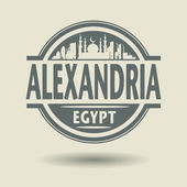 Stamp or label with text Alexandria, Egypt inside — Vector de stock