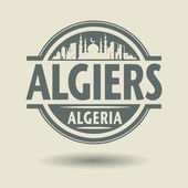 Stamp or label with text Algiers, Algeria inside — Stock Vector