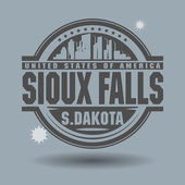 Stamp or label with text Sioux Falls, South Dakota inside — Stock Vector