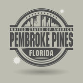 Stamp or label with text Pembroke Pines, Florida inside — Stock Vector