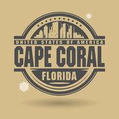 Estampille ou une étiquette avec le texte cape coral, florida à l'intérieur — Vecteur
