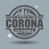 Stamp or label with text Corona, California inside — Stock Vector