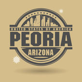 Stamp or label with text Peoria, Arizona inside — Stock Vector