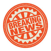 Abstract stamp or label with the text Breaking News written inside — Stock Vector