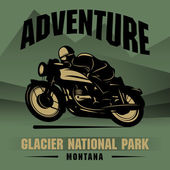 Vintage Motorcycle adventure poster — Stock Vector
