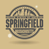 Stamp or label with text Springfield, Massachusetts inside — Stock Vector
