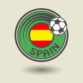 スタンプや単語スペイン サッカーのテーマ付きのラベル — ストックベクタ