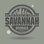 Stamp or label with text Savannah, Georgia inside — Stock Vector