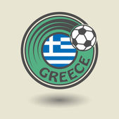 Stamp or label with word Greece, football theme — Stockvektor