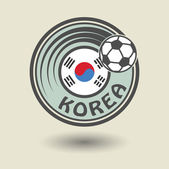Stamp or label with word Korea, football theme — Stock Vector