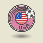 Sello o etiqueta con la palabra de Estados Unidos, tema de fútbol — Vector de stock