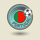 Stamp or label with word Portugal, football theme — Vecteur