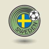 Football Sweden stamp — Stock Vector