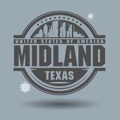 Stamp Midland, Texas — Stok Vektör