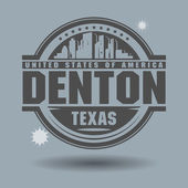 Stamp or label with text Denton, Texas inside — Stock Vector
