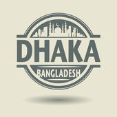 Stamp or label with text Dhaka, Bangladesh inside — Stock Vector