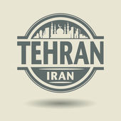 Stamp or label with text Tehran, Iran inside — Stock Vector