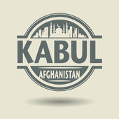 Stamp or label with text Kabul, Afghanistan inside — Stock Vector