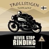 Cartaz de aventura de moto vintage — Vetor de Stock