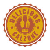 Abstract stamp or label with the text Delicious Calzone written  — Stock Vector