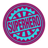 抽象的图章或标签与文本的超级英雄 — 图库矢量图片