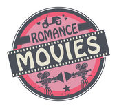Stamp or label with text Romance Movies — Stockvector