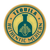 Label or stamp with the text Tequila, Authentic Mexican — Stock Vector