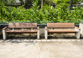 Contemporary wood bench — Stock Photo