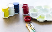 Watercolors and Paintbrushes — Stock Photo