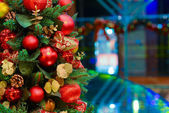Golden Christmas Tree Scene Background — Stock Photo