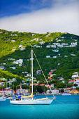 Sailboats anchored in St. Thomas Harbor — Stock Photo