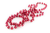 Mardi Gras party red beads — Stock Photo