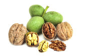 Dry and fresh walnuts isolated — Stock Photo