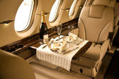 Private airplane interior — Stock Photo