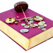 Justice concept. Law, scale, money and book — Stock Photo