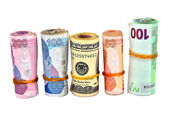 Various Turkish Lira and dollar white background — Stock Photo