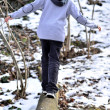 Boy balancing on log in the winter — Stock Photo