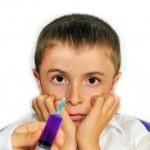 Syringe injecting child — Stock Photo
