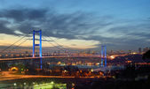 Night golden gate bridge and the lights istanbul, Turkey — Stock Photo